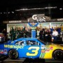 Dale Earnhardt Jr., driver of the No. 3 Wrangler Chevrolet, celebrates in victory lane after winning the NASCAR Nationwide Series Subway Jalapeno 250 at Daytona International Speedway on July 2, 2010 in Daytona Beach, Florida. (Photo by Jerry Markland / Getty Images for NASCAR)