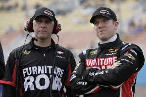 Furniture Row crew chief Pete Rondeau (L) and driver Regan Smith