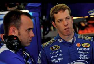 Penske Racing&#039;s Paul Wolfe and Brad Keselowski - Ronald Martinez/Getty Images for Texas Motor Speedway