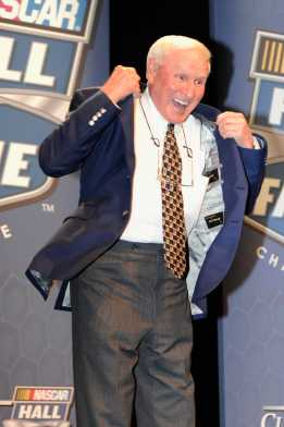 Cale Yarborough reacts to getting his NASCAR Hall of Fame jacket. - Photo Credit: John Harrelson/Getty Images for NASCAR
