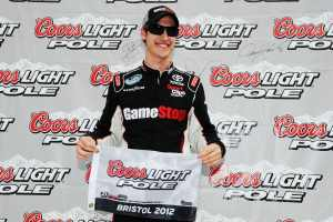 Joey Logano celebrates winning the Coors Light Pole Award for the NASCAR Nationwide Series Ford Ecoboost 300 on Saturday at Bristol Motor Speedway in Bristol, Tenn. - Photo Credit: Jared C. Tilton/Getty Images