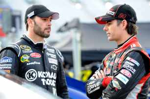 Hendrick Motorsports teammates (left to right) Jimmie Johnson and Jeff Gordon - Photo Credit: John Harrelson/Getty Images for NASCAR
