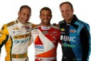 KV Racing Technology's 2012 Drivers Tony Kanaan (left) E.J. Viso (center) and Rubens Barrichello (right)