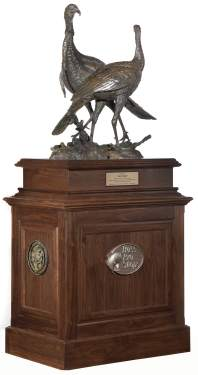 Stewart was presented a magnificent 7-foot tall bronze statue of a wild turkey created by renowned artist Stefan Savides to commemorate his driving the No. 14 Bass Pro Shops/Wild Turkey Federation Chevrolet for Stewart-Haas Racing in the NASCAR Sprint Cup Series All-Star Race