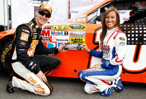 Joey Logano, driver of the No. 20 The Home Depot Toyota, poses with Miss Coors Light and the pole award sticker after qualifying on the pole - Photo Credit: Jeff Zelevansky/Getty Images for NASCAR