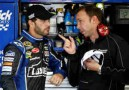 Jimmie Johnson, driver of the No. 48 Lowe's Chevrolet talks with crew chief Chad Knaus - Photo Credit: Jeff Zelevansky/Getty Images for NASCAR