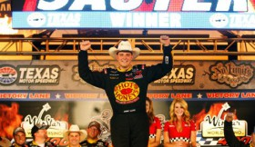 Johnny Sauter kicks off the Victory Lane celebration after winning the NASCAR Camping World Truck Series' WinStar World Casino 400 at Texas Motor Speedway on June 8, 2012. - Photo Credit: Chris Graythen/Getty Images