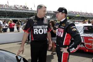 Furniture Row Racing crew chief Todd Berrier (L) with driver Regan Smith
