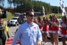 Greg Biffle is greeted by cheerleaders at the 'Chase Across America' event at Martinsville Speedway on September 11, 2012. - Photo Credit: Mike Smith/Martinsville Speedway