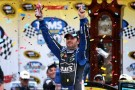 Jimmie Johnson, driver of the #48 Lowe's Chevrolet, celebrates in Victory Lane after winning the NASCAR Sprint Cup Series Tums Fast Relief 500 at Martinsville Speedway on October 28, 2012 in Ridgeway, Virginia - Photo Credit: Streeter Lecka/Getty Images