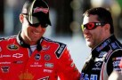 (L-R) Kevin Harvick, driver of the #29 Budweiser Chevrolet, talks with Tony Stewart, driver of the #14 Mobil 1/Office Depot Chevrolet - Photo Credit: Jerry Markland/Getty Images