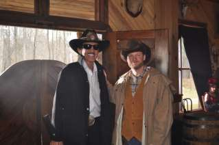 NASCAR legend Richard Petty and Sprint Cup Series driver Dale Earnhardt Jr. on set during filming of the 2013 NASCAR Sprint All-Star Race commercial. (CMS Photo)