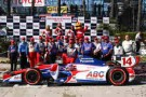 2013 IICS Driver Takuma Sato and The ABC Supply/AJ Foyt Racing Team in Victory Lane at Long Beach - Photo Credit: INDYCAR