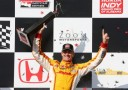 Ryan Hunter-Reay, driver of the #1 Andretti Autosport DHL Chevrolet celebrates in victory lane during the Honda Indy Grand Prix of Alabama at Barber Motorsports Park on April 7, 2013 in Birmingham, Alabama. - Photo Credit: Nick Laham/Getty Images