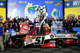 Kyle Busch, driver of the #51 Toyota Care Toyota, celebrates in Victory Lane after winning the NASCAR Camping World Truck Series North Carolina Education Lottery 200 at Charlotte Motor Speedway on May 17, 2013 in Concord, North Carolina. Photo Credit: Rainier Ehrhardt/Getty Images