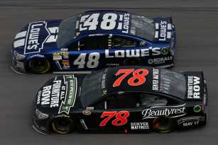 Jimmie Johnson, driver of the #48 Lowe's Chevrolet, leads Kurt Busch, driver of the #78 Furniture Row / Beautyrest Chevrolet, during the NASCAR Sprint Cup Series Aaron's 499 at Talladega Superspeedway on May 5, 2013 in Talladega, Alabama. - Photo Credit: Tom Pennington/Getty Images