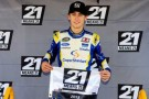 Ryan Blaney, driver of the #29 Cooper Standard Ford, poses with the 21 Means 21 Pole Award - Photo Credit Sean Gardner/Getty Images