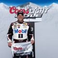 Tony Stewart, driver of the #14 Bass Pro Shops / Mobil 1 Chevrolet, poses with the Coors Light Pole Award after qualifying for pole position for the NASCAR Sprint Cup Series Duck Commander 500 at Texas Motor Speedway on April 5, 2014 in Fort Worth, Texas. - Photo Credit: Jonathan Ferrey/Getty Images