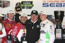 Left to right, Scott Dixon, Tony Kanaan, Chip Ganassi and Sage Karam celebrate after winning round 2 of the North American Endurance Championship at the 12 Hours of Sebring at Sebring International Raceway on March 15, 2014 in Sebring, Florida. - Photo Credit: Brian Cleary/Getty Images