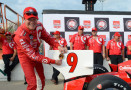 Scott Dixon of New Zealand driver of the #9 Target Chip Ganassi Racing Dallara Chevrolet celebrates earning pole position during qualifying for the Verizon IndyCar Series Iowa Corn Indy 300 presented by DEKALB at the Iowa Speedway on JULY 11, 2014 in Newton, Iowa. - Photo Credit: Robert Laberge/Getty Images