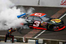 Ty Dillon, driver of the #3 Bass Pro Shops Chevrolet, celebrates with a burnout after winning the NASCAR Nationwide Series Lilly Diabetes 250 at Indianapolis Motor Speedway on July 26, 2014 in Indianapolis, Indiana. - Sean Gardner/Getty Images