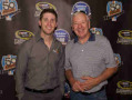 "(L-R) Driver of the No. 11 FedEx Toyota Denny Hamlin and former Indy 500 champion Tom Sneva take part in a ""Breakfast of Champions"" event at Joyride Taco House in Phoenix, Arizona as part of the Chase Across North America in conjunction with Phoenix International Raceway on September 10, 2014. - Photo Credit: Phoenix International Raceway"