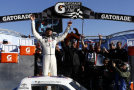 Darrell Wallace, Jr., driver of the #34 2015 NASCAR Hall of Fame Inductee Wendell Scott Toyota, celebrates in Victory Lane after winning the NASCAR Camping World Truck Series Kroger 200 at Martinsville Speedway on October 25, 2014 in Martinsville, Virginia. - Photo Credit: Jeff Zelevansky/Getty Images