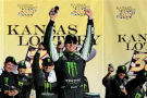 Kyle Busch, driver of the #54 Monster Energy Toyota, celebrates in victory lane after winning during the NASCAR Nationwide Series Kansas Lottery 300 at Kansas Speedway on October 4, 2014 in Kansas City, Kansas. - Photo Credit: Jared C. Tilton/Getty Images