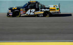 2014 NCWTS Driver Kyle Larson on track at Homestead-Miami Speedway in the No. 42 ParkerStore Chevrolet Silverado - Photo Credit Robert Lebarge/Getty Images