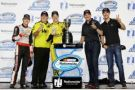 Ryan Blaney, driver of the No. 12 Discount Tire Ford, Crew chief Jeremy Bullins, Brad Keselowski, driver of the No. 22 Hertz Ford, Michael McDowell and Joey Logano pose for a photo after Penske was nammed the Champion Owner during the NASCAR Nationwide Series Ford EcoBoost 300 at Homestead-Miami Speedway on November 15, 2014 in Homestead, Florida. (Photo Credit:  Jerry Markland / Getty Images)