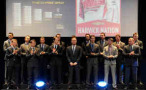 NASCAR Sprint Cup Series Champion Kevin Harvick and the other drivers from the Chase pose onstage during the 2014 NASCAR NMPA Myers Brothers Awards on December 4, 2014 at the Encore Las Vegas in Las Vegas, Nevada. - Photo Credit: David Becker/NASCAR via Getty Images