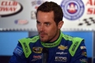 Casey Mears, driver of the #13 GEICO Chevrolet, answers questions from media prior to practice for the NASCAR Sprint Cup Series Auto Club 400 at Auto Club Speedway on March 21, 2015 in Fontana, California. - Photo Credit: Jonathan Moore/Getty Images