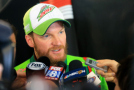 Dale Earnhardt Jr., driver of the #88 Diet Mountain Dew Chevrolet, speaks with the media in the garage area after being involved in an on-track incident during the NASCAR Sprint Cup Series STP 500 at Martinsville Speedway on March 29, 2015 in Martinsville, Virginia. - Photo Credit: Daniel Shirey/Getty Images