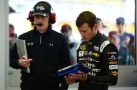 Kasey Kahne, driver of the #5 Time Warner Cable Chevrolet, works on a tablet in the garage - Photo Credit: Robert Laberge/Getty Images