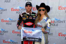 Austin Dillon, driver of the #33 Rheem Chevrolet, poses with Miss Coors Light Rachel Rupert after winning the Coors Light Pole Award for the NASCAR XFINITY Series Boyd Gaming 300 at Las Vegas Motor Speedway on March 7, 2015 in Las Vegas, Nevada. - Photo Credit: Chris Trotman/Getty Images