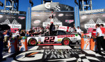 Joey Logano, driver of the #22 Discount Tire Ford, celebrates in victory lane after winning the NASCAR XFINITY Series Winn Dixie 300 at Talladega Superspeedway on May 2, 2015 in Talladega, Alabama. - Photo Credit: Jared C. Tilton/Getty Images