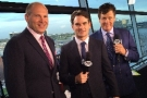 Jeff Gordon (center) in the Booth with Alex Alexander (left) and Michael Waltrip (right) for FOX Sports