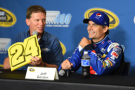 (L-R)Michigan International Speedway president Roger Curtis speaks to Jeff Gordon, driver of the #24 Pepsi Chevrolet, during a press conference before practice for the NASCAR Sprint Cup Series Pure Michigan 400 at Michigan International Speedway on August 14, 2015 in Brooklyn, Michigan. - Photo Credit: Josh Hedges/Getty Images