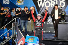 Erik Jones, driver of the #4 Toyota, celebrates in victory lane after winning the series championship during the NASCAR Camping World Truck Series Ford EcoBoost 200 at Homestead-Miami Speedway on November 20, 2015 in Homestead, Florida. - Photo Credit: Sarah Crabill/Getty Images
